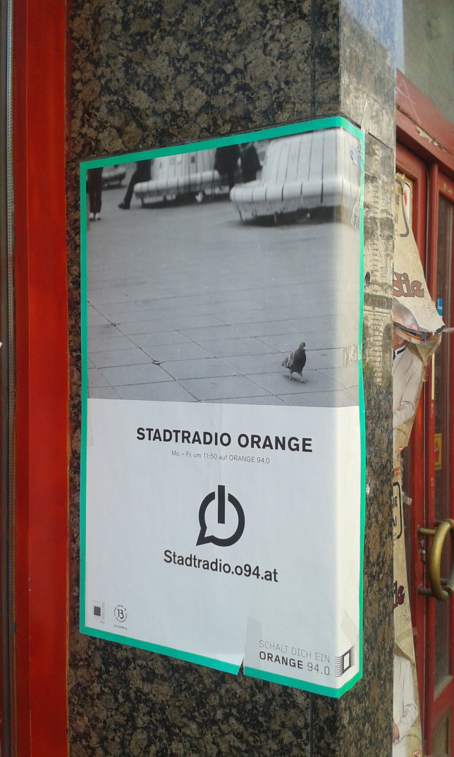 Stadtradio Orange poster, the building seemed to be under renovation. Not sure if this was only advertising or actual sign for studio location..