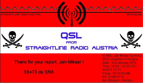 Straightline Radio Austria QSL - Jan-Mikael Nurmela
